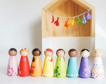 Waldorf Rainbow Peg Dolls - Sale, Little Wooden Peg People - Girl Room Decor - Peg Doll Set - Wood Dolls