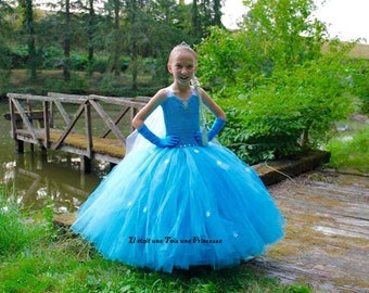 The snow Queen Elsa inspired princess dress
