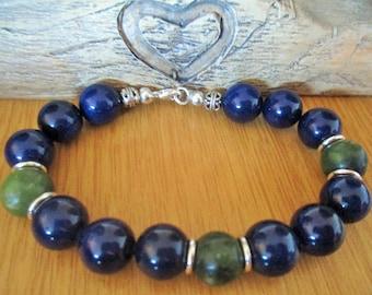 Men's Blue and Green Agate Bracelet