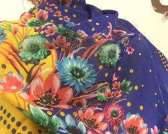 Wild Flowers Dark Blue Scarf