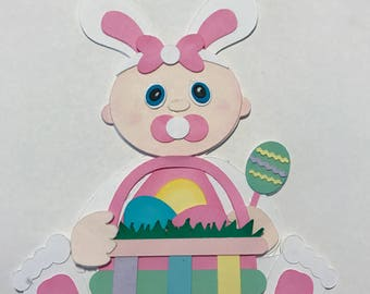 Baby's First Easter  girl with basket premade paper piecing   DIE CUT