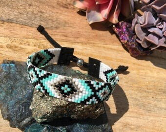 Geo-Mint-Try bead loomed bracelet in mint, black, white, and silver *customizable*