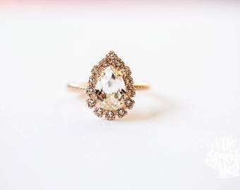 Swarovski Crystal Tear Drop - Rose Gold Ring