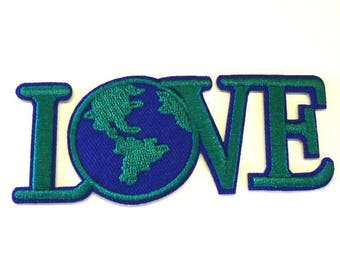 LOVE The Earth Green and Blue Sew on or Iron on Patch - H524