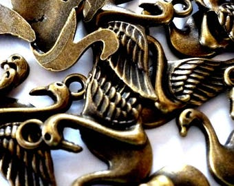Two Swans, Ducks, Geese, Birds  Bronze Tone Metal Charms - Pack of Two - H618