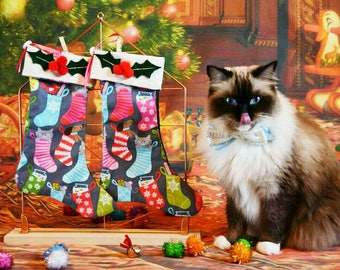 Christmas Stocking WITH TOYS for cat - Cat Christmas Stockings - Cat Christmas Stocking - Stocking for pets personalised -