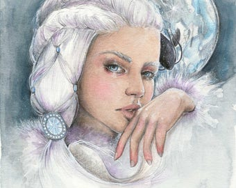 """Original watercolour and ink painting """"Yue"""""""