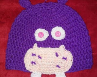 Knit Hippo Hat- Crochet Hats- Knit Stocking Cap- Animal Hat- Hippo Hat- Purple Hat- Gift for a Kid- Winter Hats- Toddler Gifts- Fun Clothes