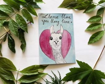 Llama love card, anniversary card, handmade Valentine's Day card, long distance relationships