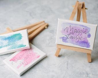 Name or table card on a mini easel