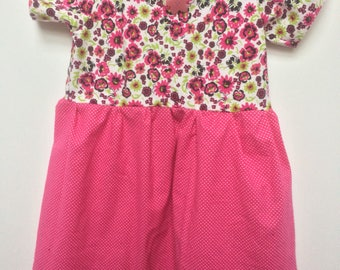 Back to School Perfect Cotton Dress Pink Flowers 2T - Girls 14
