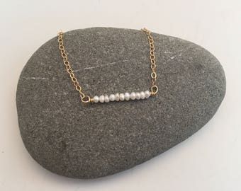 Seed Pearl Bar Layering Necklace on Delicate Gold Chain