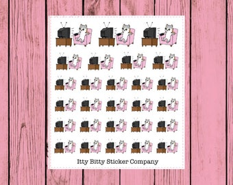 It's TV Time - Netflix - Hand Drawn IttyBitty Kitty Collection - Planner Stickers