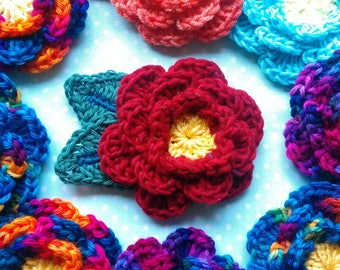 Crochet Flower Brooch. Crochet Flower Pin. Crochet Shawl Pin.