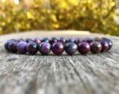 Natural Sugilite Beaded Gemstone Bracelet High Grade 8mm Purple-Toned Sugilite Bracelet Unisex Bracelet Stack Bracelet Gift Bracelet