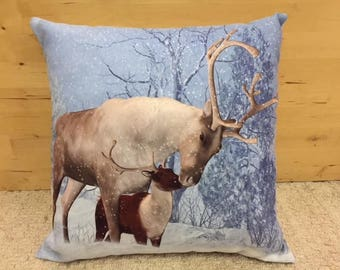 Handmade Christmas Pillow Cushion Reindeer Snow Festive with Faux Suede Back