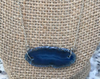 Deep Blue Stone Dainty Chain Necklace
