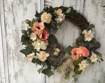 Spring Bird Nest with Eggs Wreath, Summer Wreath, Grapevine Wreath, Year Round Front Door Wreath, Wall Wreath, FAAP