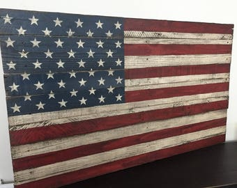 Big Hit!  LARGE Pallet American Flag | Rustic | Weathered | Distressed