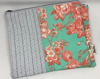 Floral and Tribal Makeup Bag | Cosmetic Bag | Large Pencil Case | Zipper Pouch