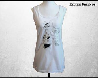 Cat Tank Top, Women's Cat Clothing, Girl's Yoga Clothes, Anime Cat Shirt, Free Shipping