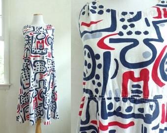 50s cotton day dress size medium   abstract print dress, handmade sleeveless dress, 1950s mod dress, mad men dress red white blue