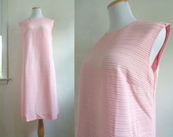 50s knit dress pink knit nylon dress ribbed minimalist dress sleeveless 1950s shift dress womens medium