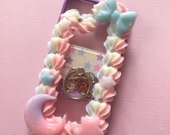 Kawaii rainbow whip border kuma ring holder bumper case for iphone 7/8