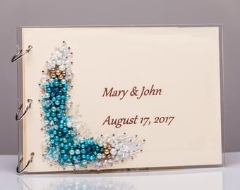 personalized wedding guestbook Wedding guestbook pearl
