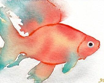 ACEO Original Fish Watercolor painting,Beach,Fish Painting,Miniature,Art Cards,Ocean Art,Fish Watercolor Painting,ACEO Painting,Coastal Art