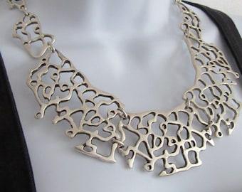 Organic silver plate bib necklace coral plant statement