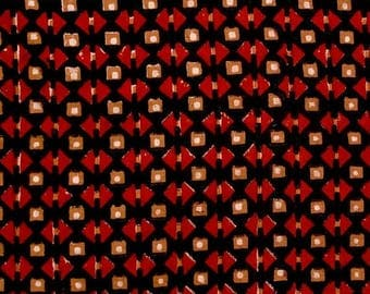 10% Off On Black and Red triangles pattern Block Print Cotton Fabric