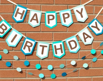 Personalized Birthday Banner - Blue Birthday Banner - Birthday Party Decoration - Happy Birthday Sign - Boy Birthday Banner - Birthday Gift