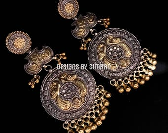 CHANDRAKOR - 92.5 Silver Earrings in Two Tone Antique Finish