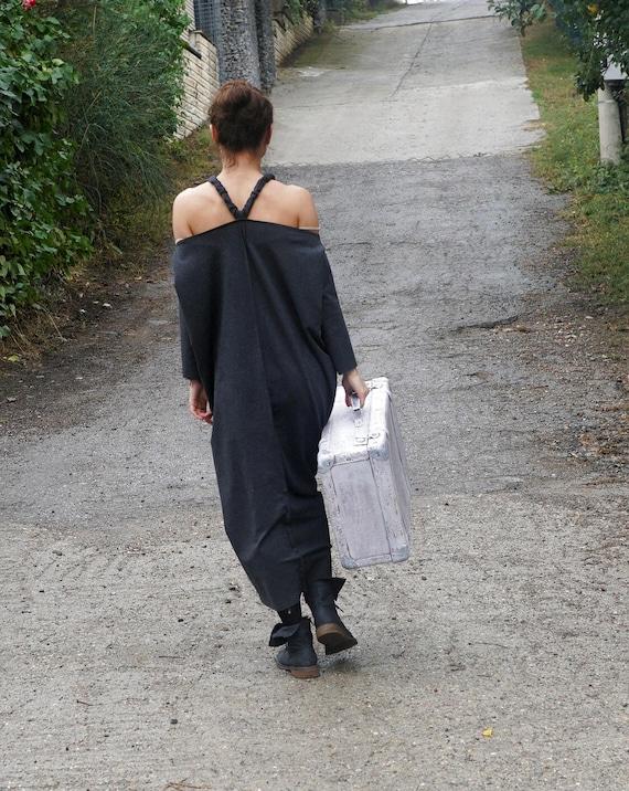 Abaya Black Dress, Maxi Off shoulder Dress, Long Fall Winter Dress, Baggy Cotton Dress, Fall Fashion, Oversized Black Dress, Caftan Dress