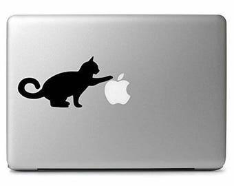 Cat Playing Vinyl Decal Sticker Kitty Kitten Kids Apple Laptop MacBook Room Decor Nursery