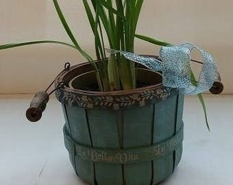 "Small Wooden Bucket ""AQUAMARINE"" Gift Basket Planter Centerpiece"