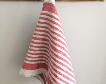 Striped Kitchen Towel, Linen Tea Towel, Handmade Linen Dish Towel, Red Beige Striped Linen Tea Towel