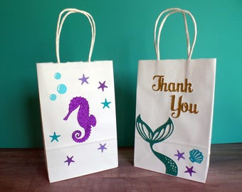 Mermaid Favor Bags. Under the Sea Party Bags. Party Bags.