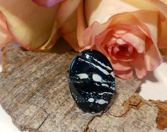 Oval ring, hand painted black white ring, glass art ring, handmade ring, silver color ring, adjustable ring, unique gift jewelry art jewelry