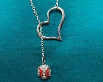 Baseball heart necklace, baseball lovers necklace