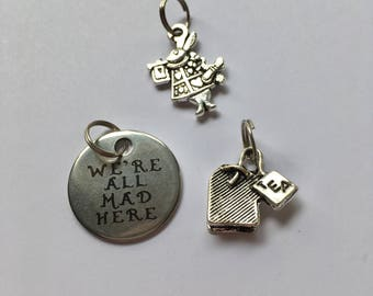 Wonderland Zipper Charms - 'We're all Mad', Rabbit & Tea Bag silver