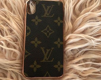 Louis Vuitton Rose Gold iPhone Samsung Phone Case. Upcycled from Authentic LV monogram canvas. IPhone X 8 Plus 7 6 5 SE Samsung Galaxy Edge