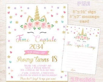Unicorn Time Capsule First Birthday Sign, Printable Birthday Sign