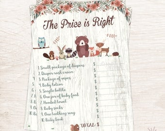Woodland The Price is Right Game, Baby Shower Game, Printable Game, Instant Download