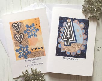 Pack of 6 Christmas cards - Christmas tree design Christmas cards - multipack Christmas Cards - A6 Christmas cards - blue and gold Christmas