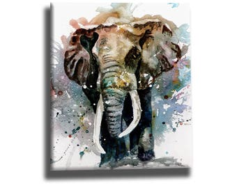 Elephant oil painting on canvas, elephant art, elephant home decor, handmade