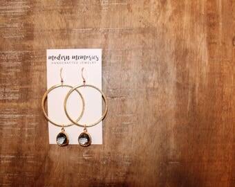 Black Diamond Gold Hoop Earrings