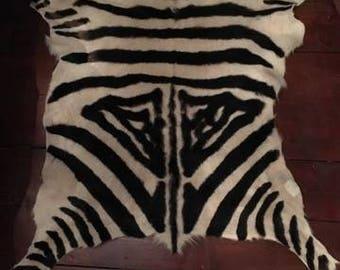 Authentic goat skin rug - zebra design