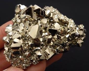 Pyrite | Octahedral Pyrite | Pyrite Cluster | Pyrite Crystal | Fool's Gold | Fool's Gold Crystal | Fool's Gold Cluster | Peru | 99 grams